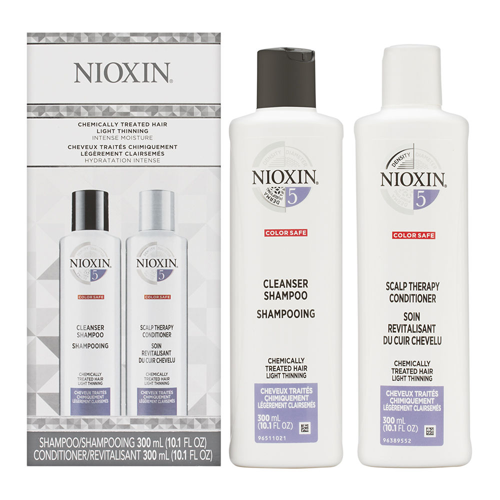 Nioxin System 5 Duo Cleanser + Scalp Therapy, Chemically Treated Hair 2 x 10.1oz