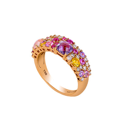 The lavish combination of purple and pink gemstones on a rose gold base is playful, elegant and dreamy