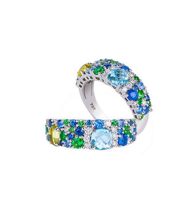 Azure, greens and cobalts are paired with brilliant diamonds for exquisite radiance