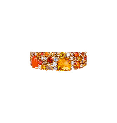 The amber and orange gemstones have their intensity curtailed by brilliant diamonds that add freshness to the fiery hues