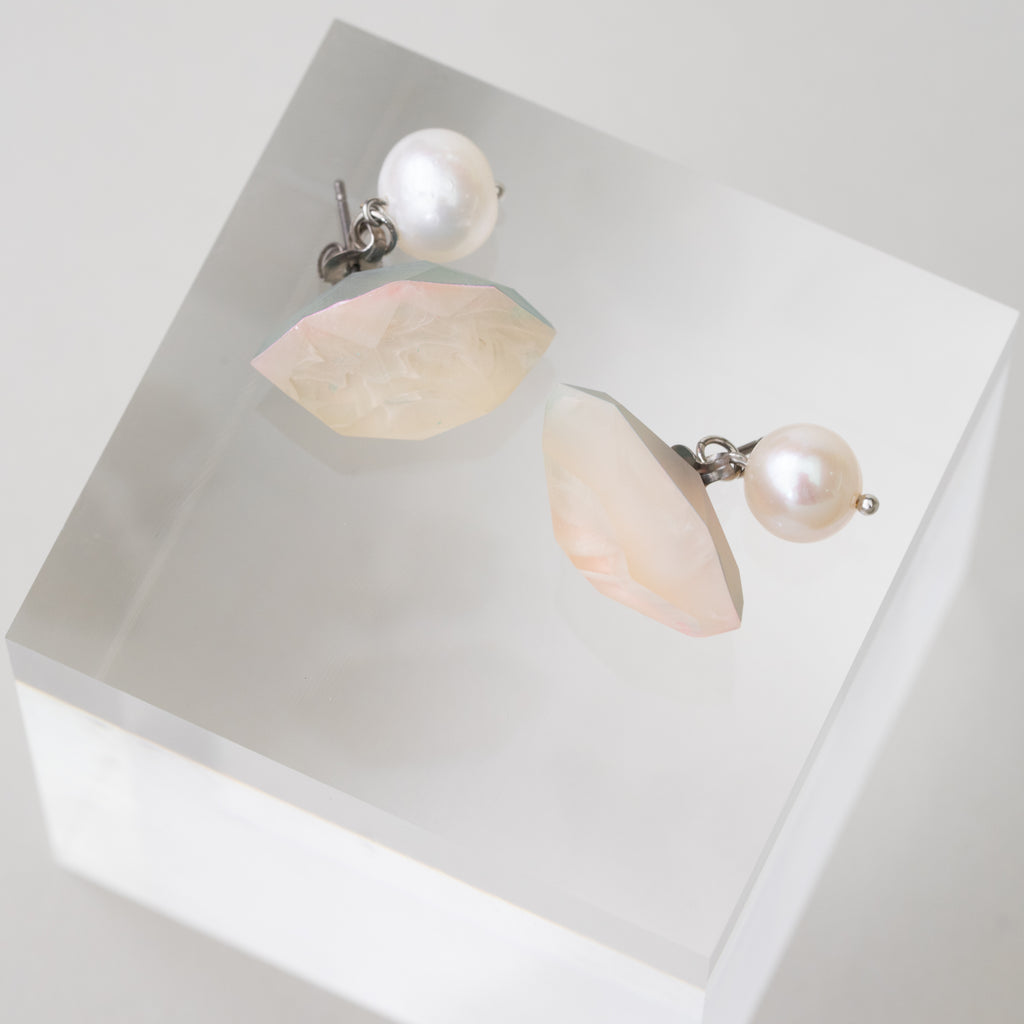 Colored Crystal Pearl pierced earrings