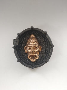 Wokey Dokey Golden Dart Face Buddha Ashtray with Black Lung Glaze