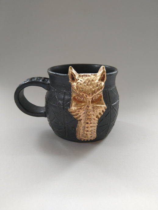 Golden Dog Deity Mug with Iron Glaze
