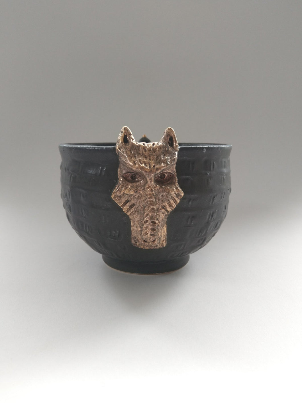 Golden Sin Dog Bowl with Charred Panda Baby Glaze