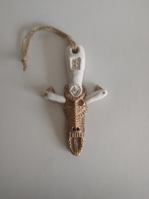 Ivory Door Dagger with Golden Antiviral Dog Deity