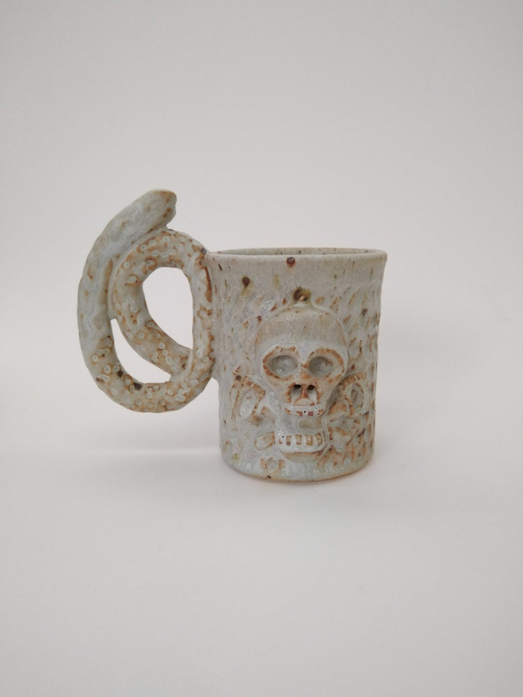 Pretzel Colon Skull Mug with Ivory Glaze