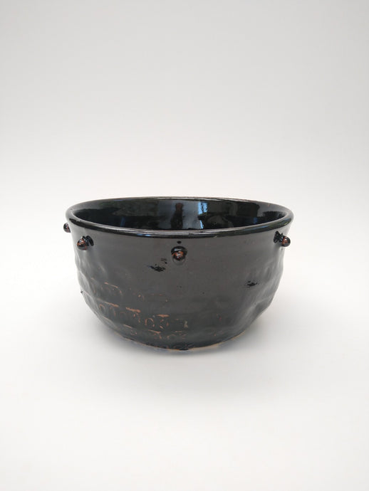 Studded Black Bowl with Molasses Glaze
