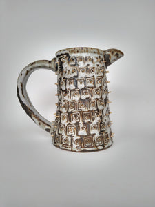Imperil Ivory Jug with Golden Spikes & Poached Bone Glaze