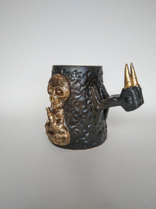 Inebriated Golden Buddha Tankard with Fang Handle & Iron Glaze