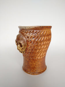 Carved Woodfired Gold Skull Cup with Soda & Ash Glaze