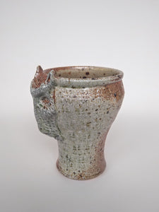 Woodfired Dog Mask Cup with Soda & Ash Glaze