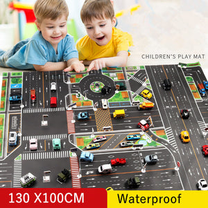 130*100CM Large City Traffic Car Park Play Mat Waterproof Non-woven Kids Playmat Pull Back Car Toys for Children's Mat