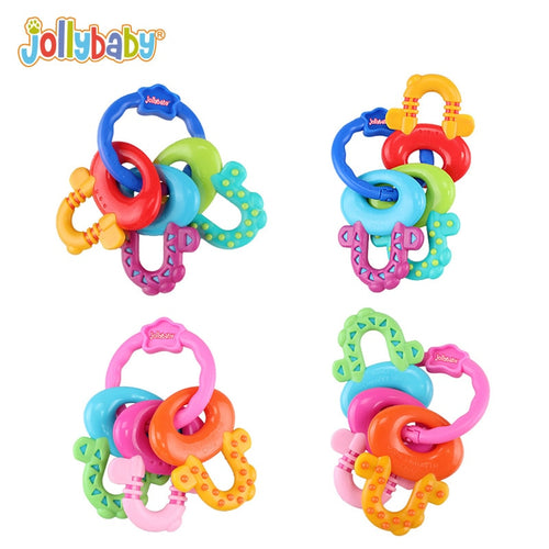 Jollybaby Baby Rattle Multiple Textures Keys Chain Teether Teething Beads Loop Toys for Children 0-1 Year Gift Hand Easy Grip