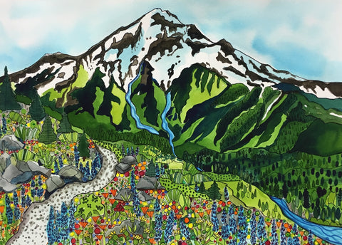 PAINTINGS - Hikers View - Mt. Hood Series