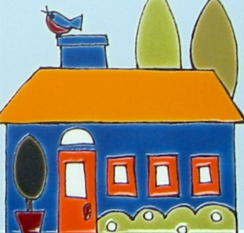 VILLAGE TILE - Blue House with Blue Bird