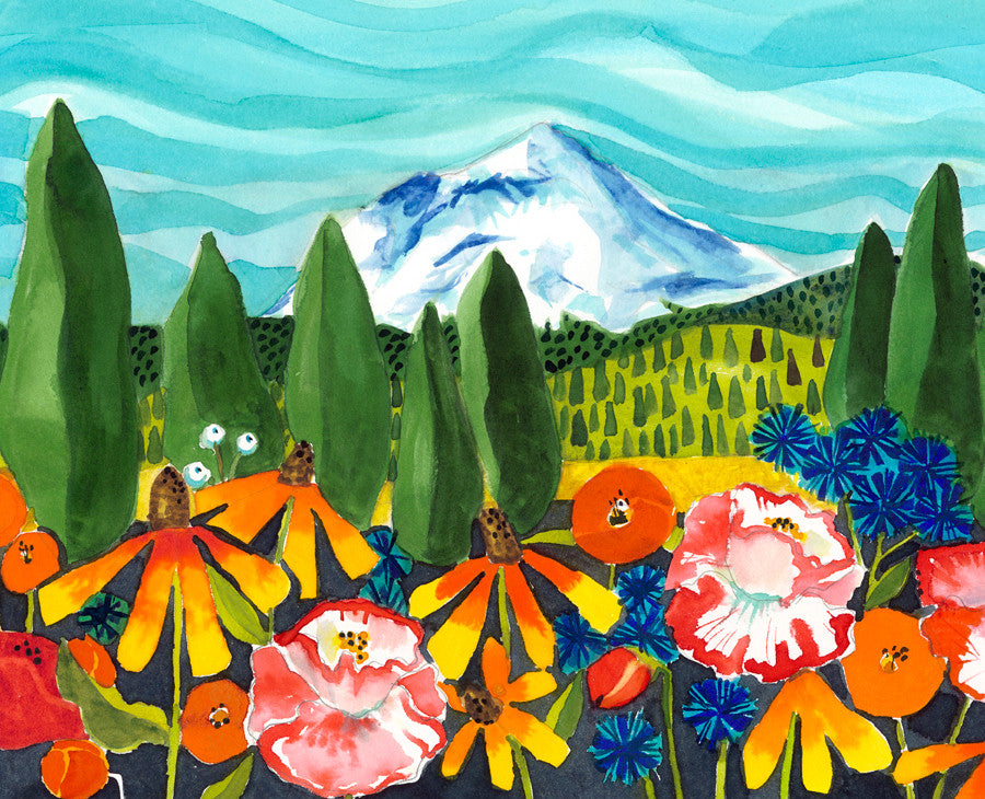 GICLEES - Cone Flowers and Corn Flowers