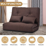 Sofa Bed Adjustable Folding Futon Sofa Leisure Sofa Bed with Two Pillows