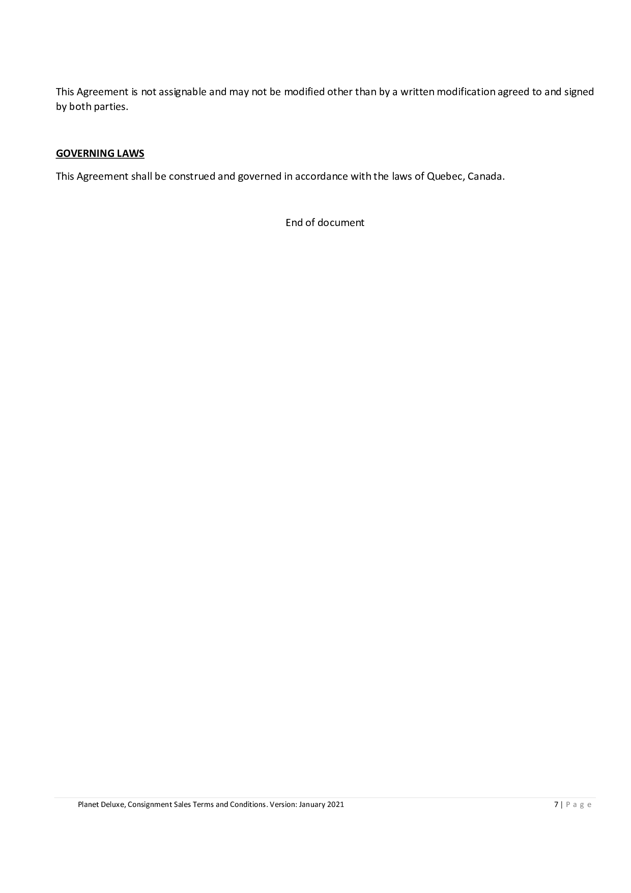 Consignment Sales Agreement