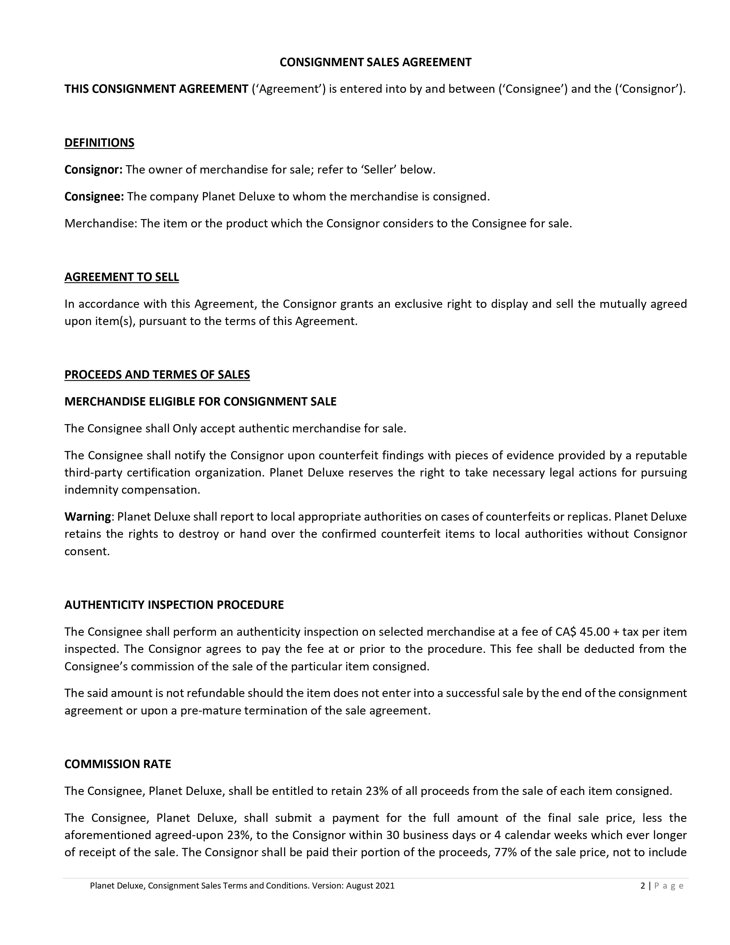 Consignment Contract page 1
