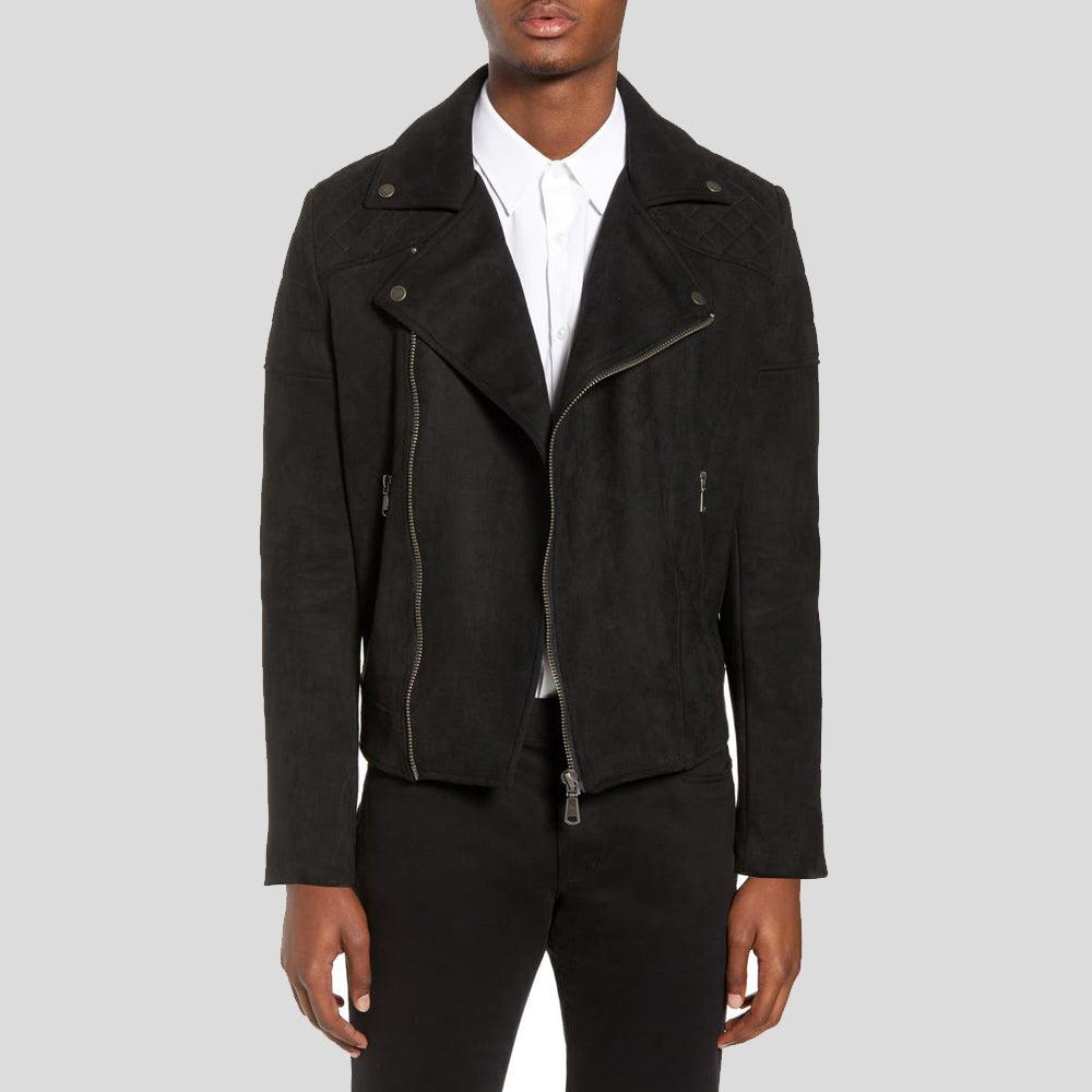 Bard Black Suede Motorcycle Leather Jacket