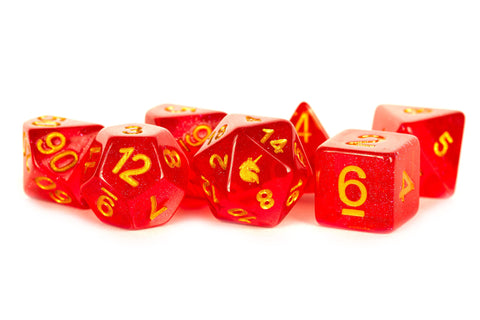 MDG Dice Unicorn: Red 16mm Poly Dice Set