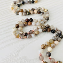 Load image into Gallery viewer, Mala beads - Bamboo Leaf Agate, Grey Agate, Howlite