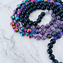 Load image into Gallery viewer, Mala beads - Black Jasper, Amethyst, Rainbow Hematite