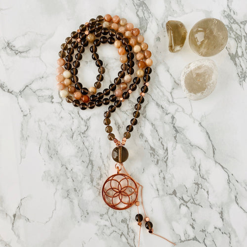 Mala beads - Smoky Quartz, Sunstone