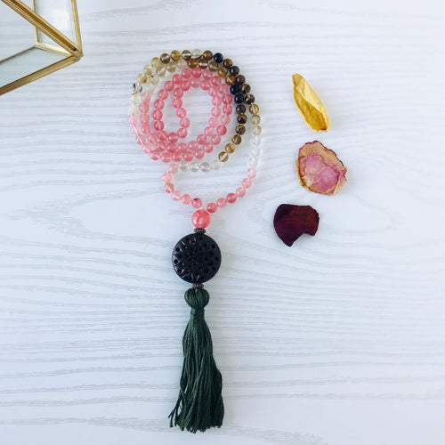 Mala beads - Cherry Quartz, Tiger's Eye