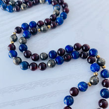 Load image into Gallery viewer, Mala beads - Lapis Lazuli, Red Garnet, Pyrite