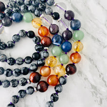 Load image into Gallery viewer, Mala beads - Chakra Balancing Beads, Snowflake Obsidian