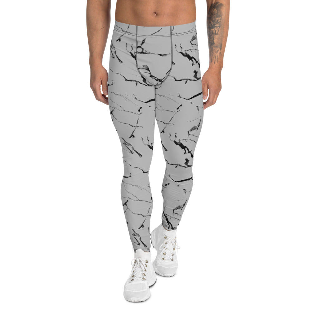 Men's Yoga Leggings Light Grey Marble