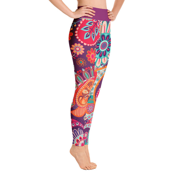 Yoga Leggings Wonder Flowers Purple Belt