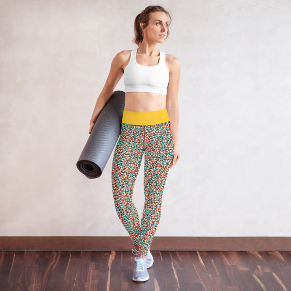 Yoga Leggings Mustard Kaleidoscope