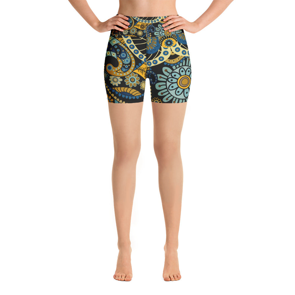 Yoga Shorts Black Wonder Flowers