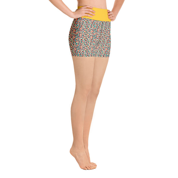 Yoga Shorts  Mustard Kaleidoscope