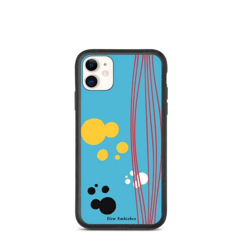 Biodegradable iPhone case - Blue & Yellow Abstract Pattern