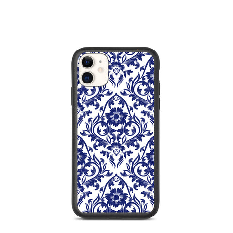 Biodegradable iPhone case - Blue on White China Floral Pattern