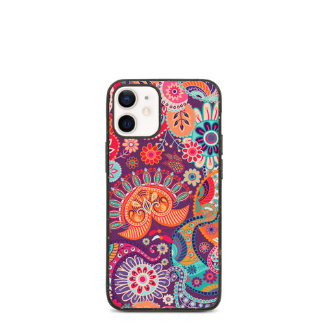 Biodegradable iPhone case - Magic Floral Pattern, purple, red.