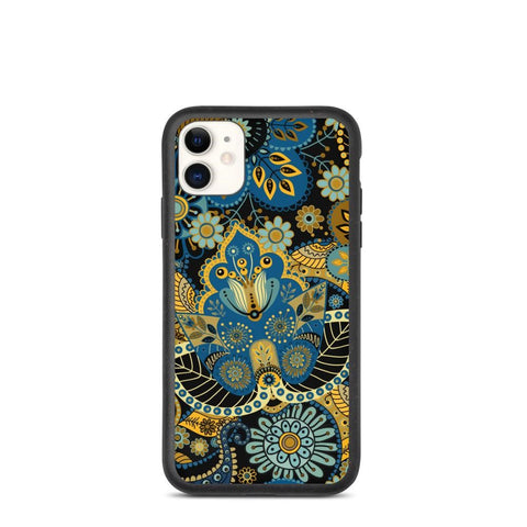 Biodegradable iPhone case: Black & Golden Wonder Flower Pattern