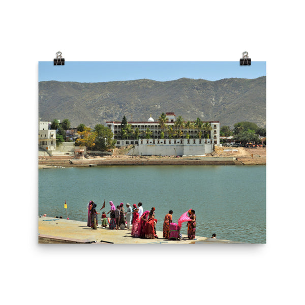 Ritual Bathing in Sacred Lake in Pushkar, India. Photo Poster Active