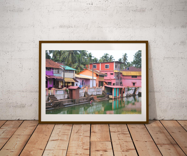 Gokarna, Karnataka, India, man performing ritual Hindu bathing in lake. Photo Poster Active