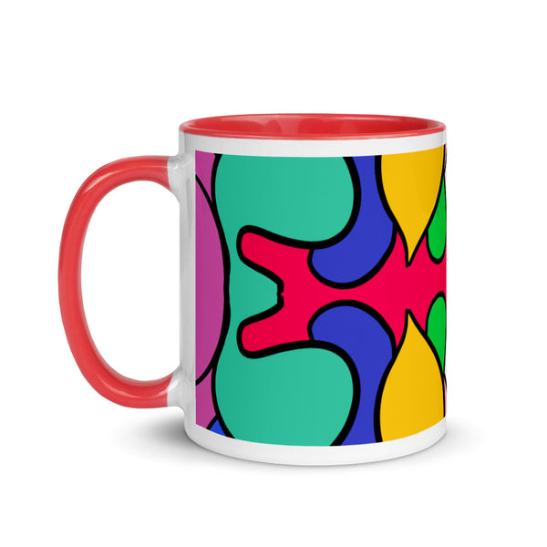 Alien Color Explosion Mug with Color Inside, hand drawn pattern, 11oz