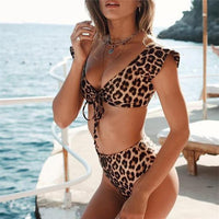 Women's Animal Print High Waist Two-Piece Swimsuit