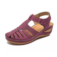 Women's Pu Press Leather Soft Sole Velcro Ankle Strap Sandal