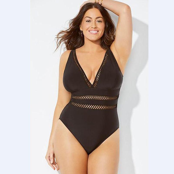 Women's Cut-Out Trim Plus-Size One-Piece Swimsuit