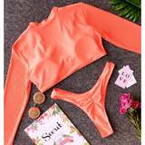 Women's Long Sleeve Low Waist Two-Piece Swimsuit