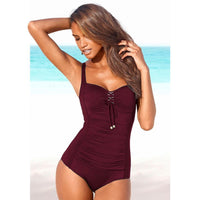 Women's Lace-Up Plus-Size One-Piece Swimsuit