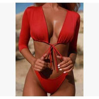 Women's Solid Color Long Sleeve Two-Piece Swimsuit
