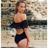 Women's Off Shoulder Back Out Ruffle One-Piece Swimsuit